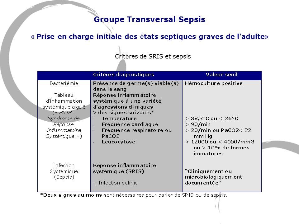 Groupe Transversal Sepsis « Prise en charge initiale des états septiques graves de l adulte» Critères de SRIS et sepsis