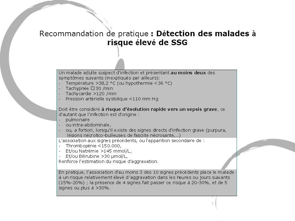 Recommandation de pratique : Détection des malades à risque élevé de SSG
