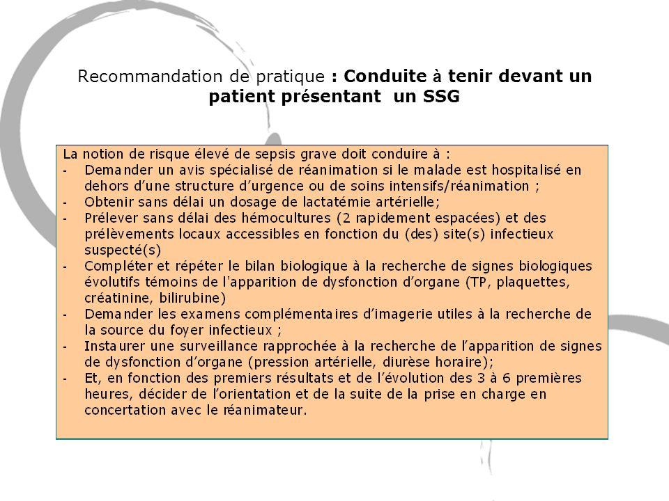 Recommandation de pratique : Conduite à tenir devant un patient présentant un SSG