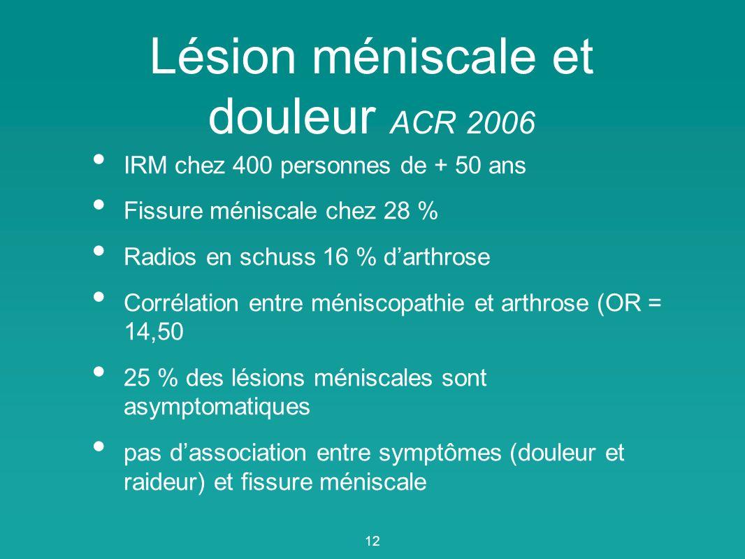 Lésion méniscale et douleur ACR 2006
