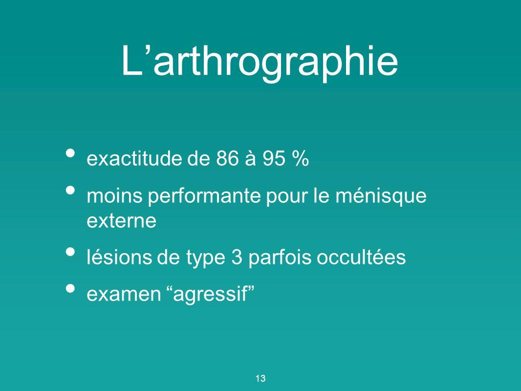 L'arthrographie exactitude de 86 à 95 %