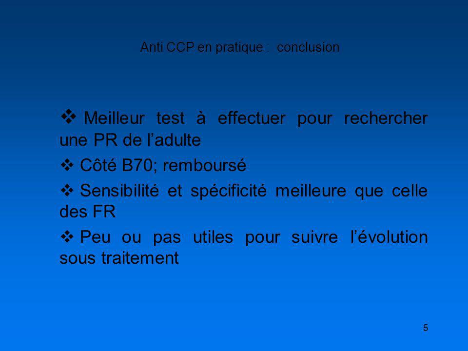 Anti CCP en pratique : conclusion