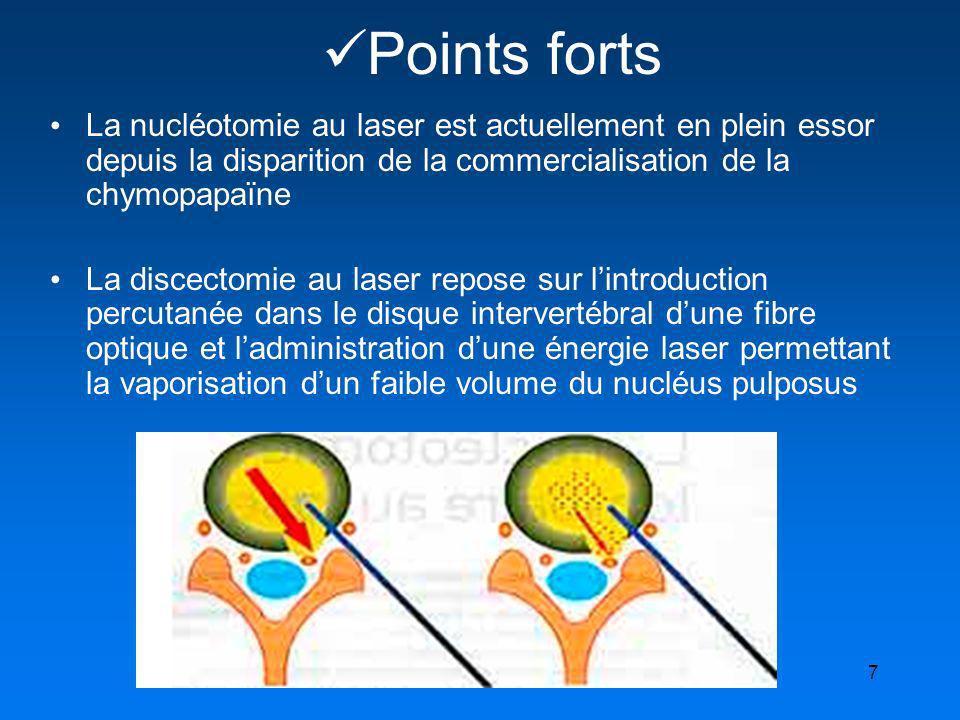Points forts La nucléotomie au laser est actuellement en plein essor depuis la disparition de la commercialisation de la chymopapaïne.