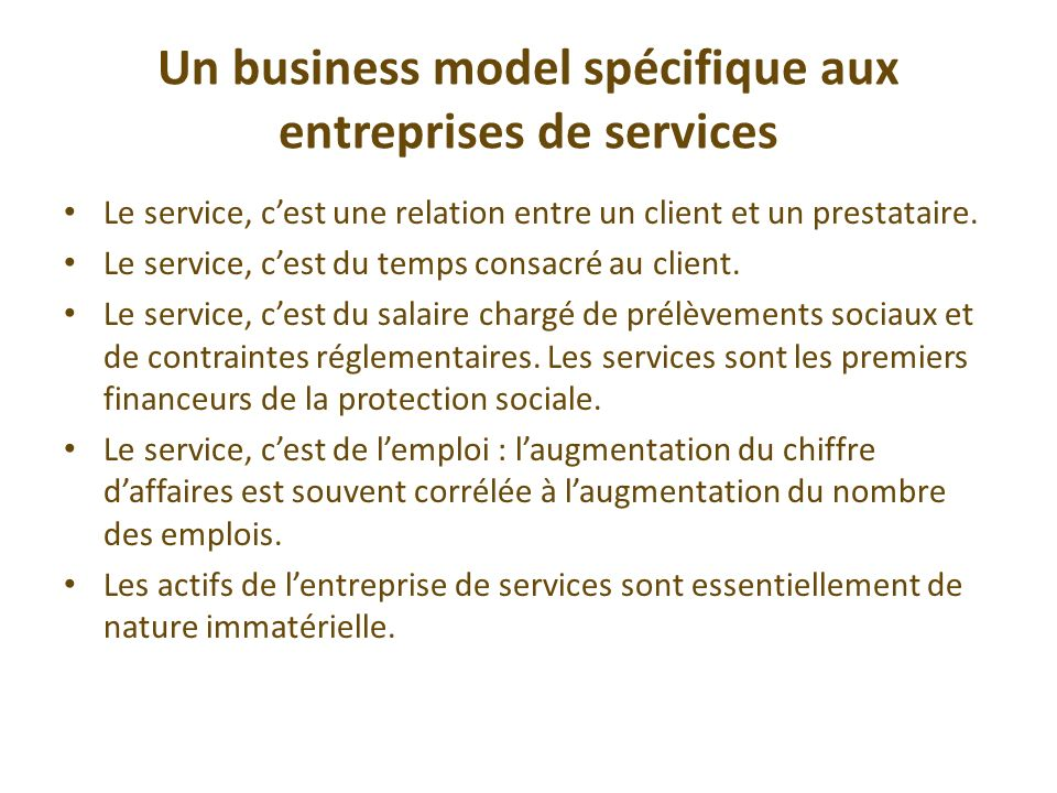 Un business model spécifique aux entreprises de services