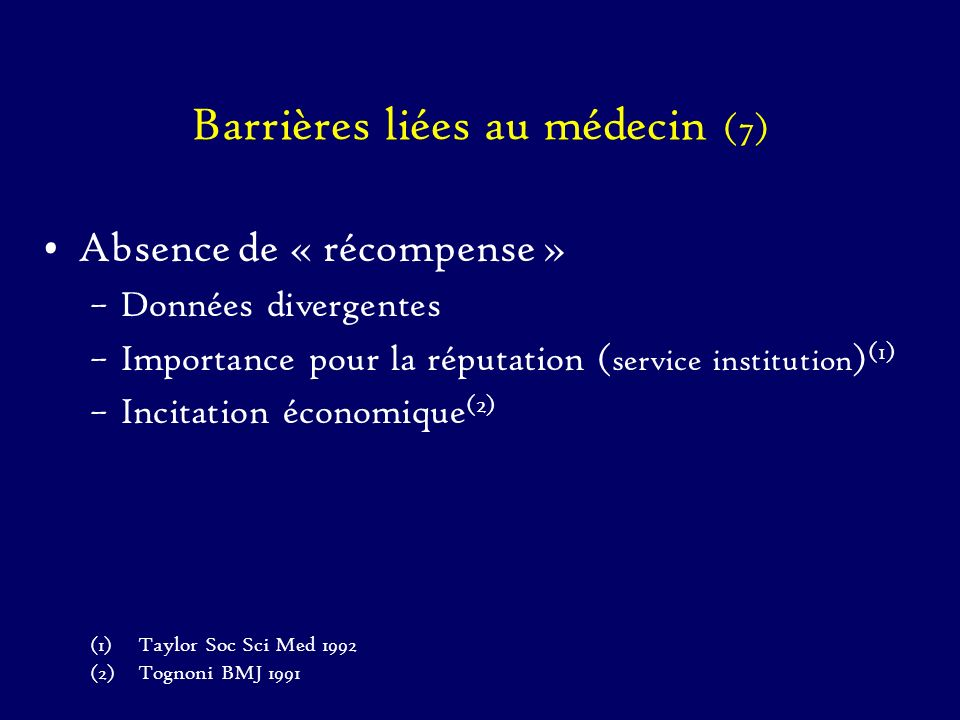 Barrières liées au médecin (7)