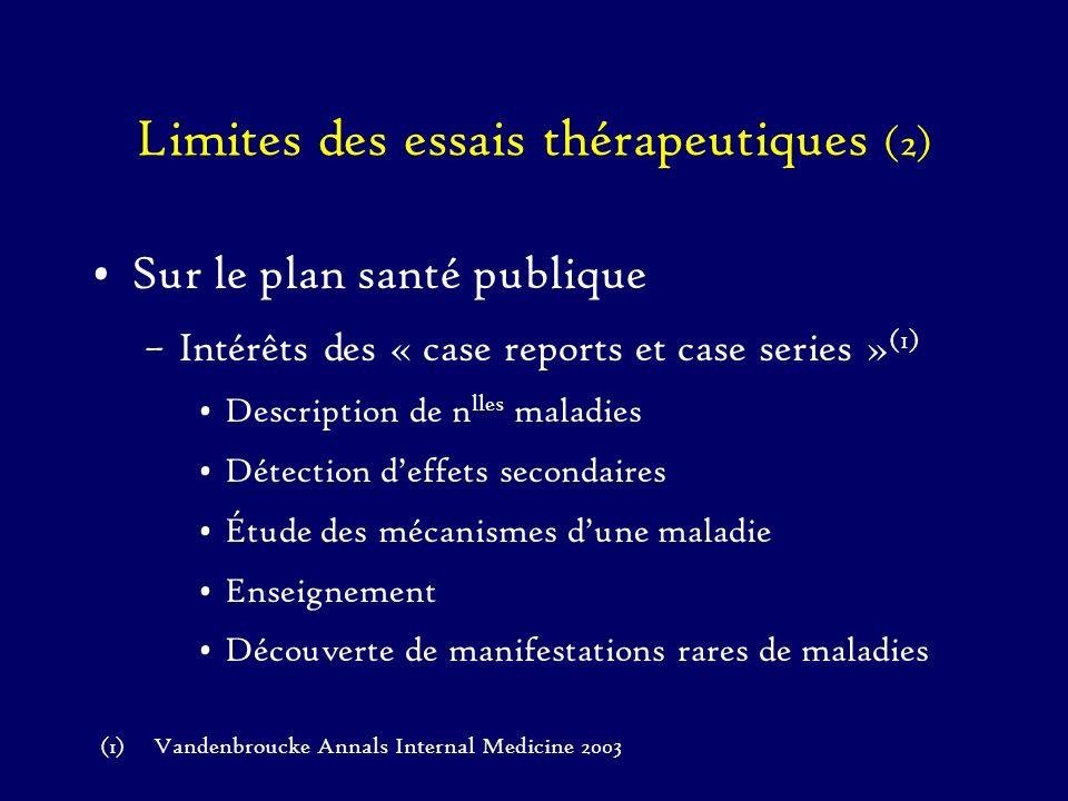 Limites des essais thérapeutiques (2)