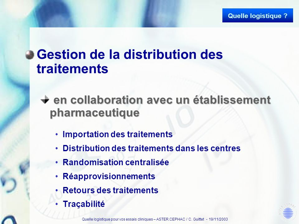Gestion de la distribution des traitements