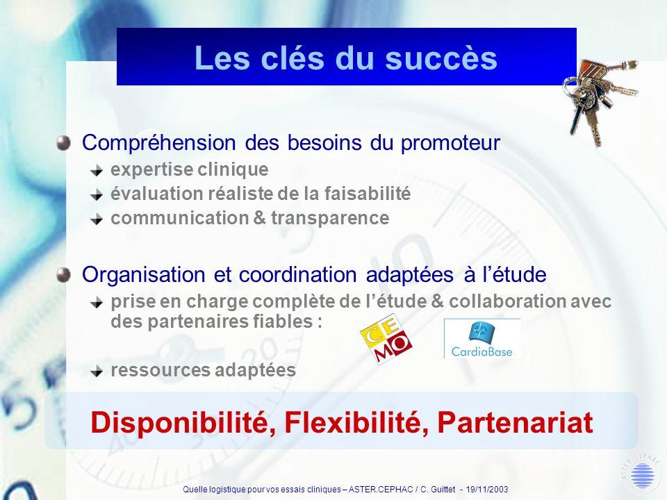 Les clés du succès Disponibilité, Flexibilité, Partenariat