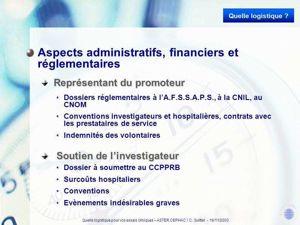 Aspects administratifs, financiers et réglementaires