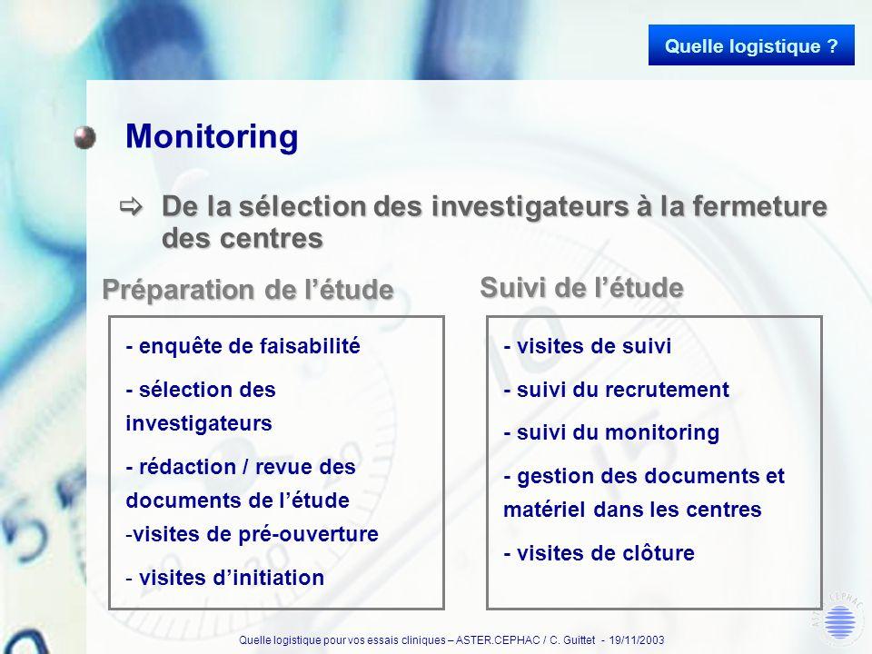 Quelle logistique Monitoring. De la sélection des investigateurs à la fermeture des centres. Préparation de l'étude.
