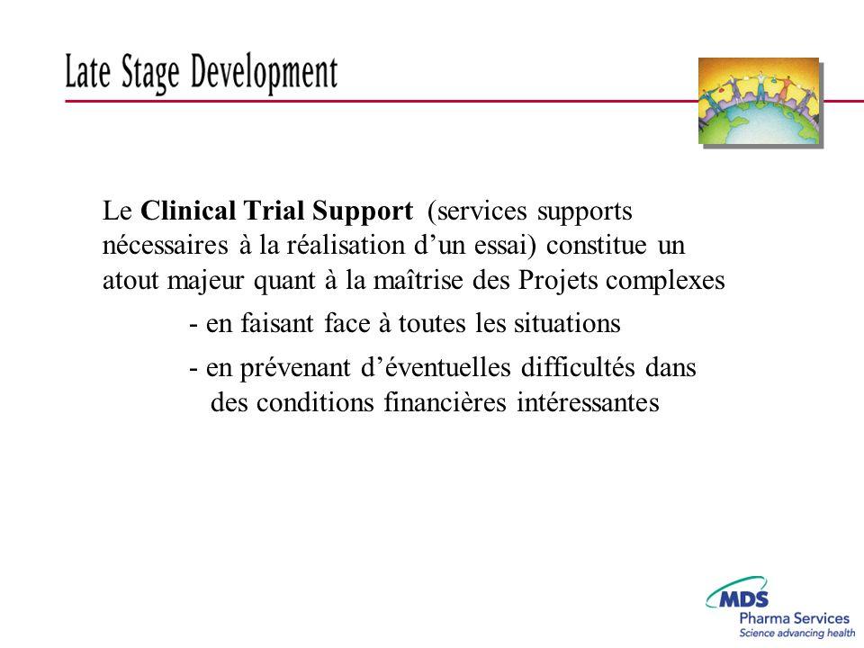 Le Clinical Trial Support (services supports nécessaires à la réalisation d'un essai) constitue un atout majeur quant à la maîtrise des Projets complexes