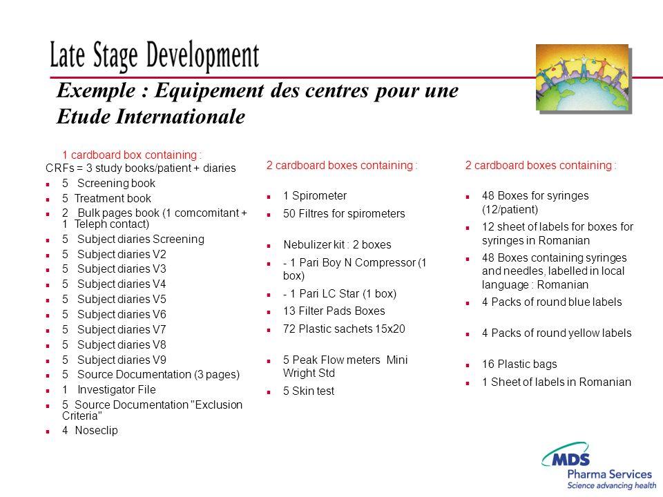 Exemple : Equipement des centres pour une Etude Internationale