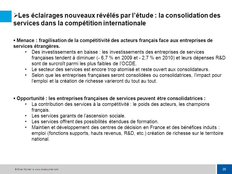 Les éclairages nouveaux révélés par l'étude : la consolidation des services dans la compétition internationale
