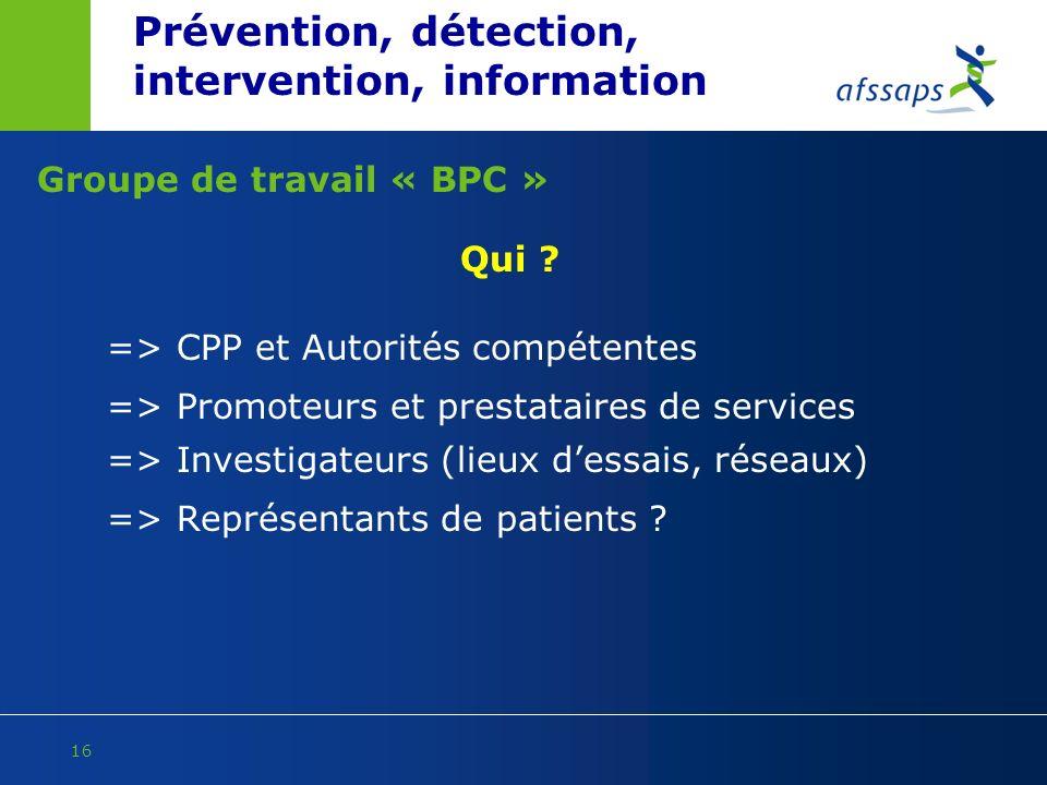 Prévention, détection, intervention, information