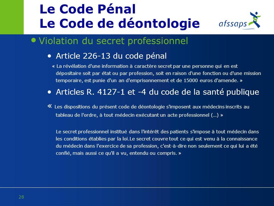 Le Code Pénal Le Code de déontologie Violation du secret professionnel