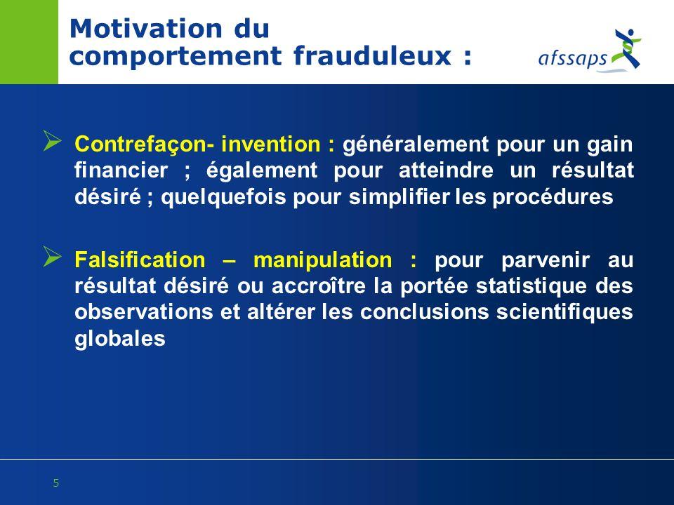 Motivation du comportement frauduleux :