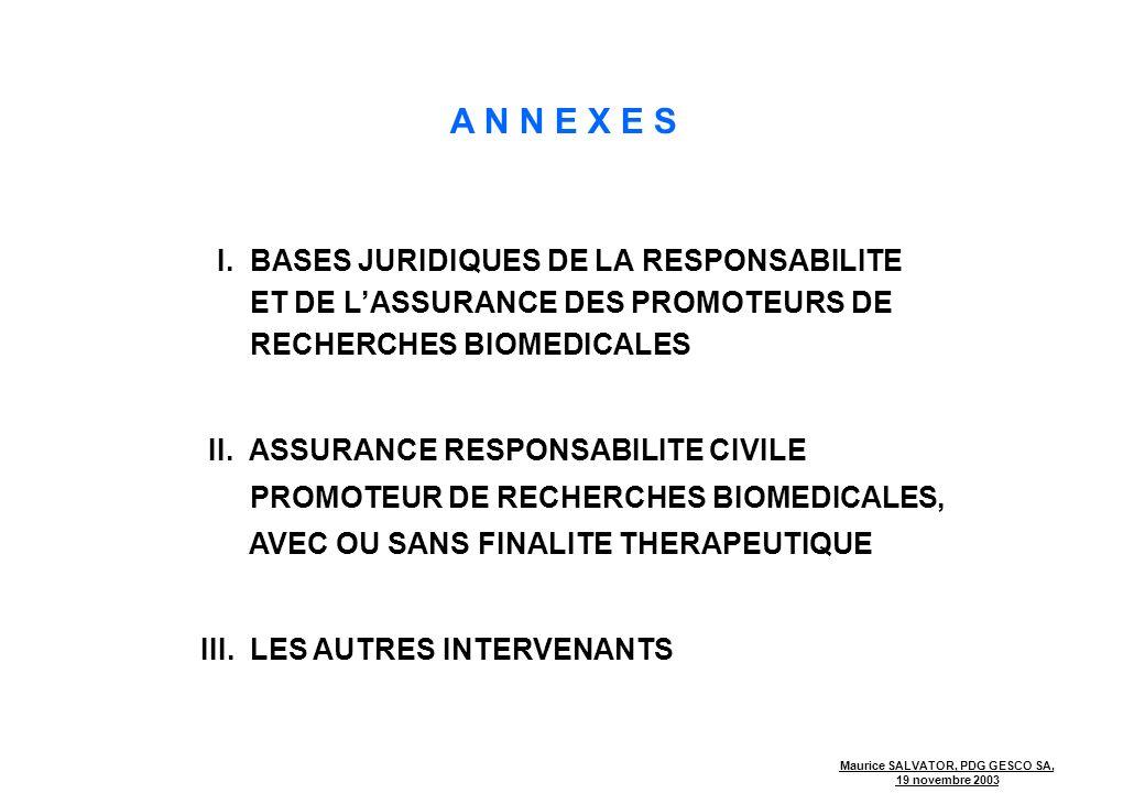 A N N E X E S I. BASES JURIDIQUES DE LA RESPONSABILITE