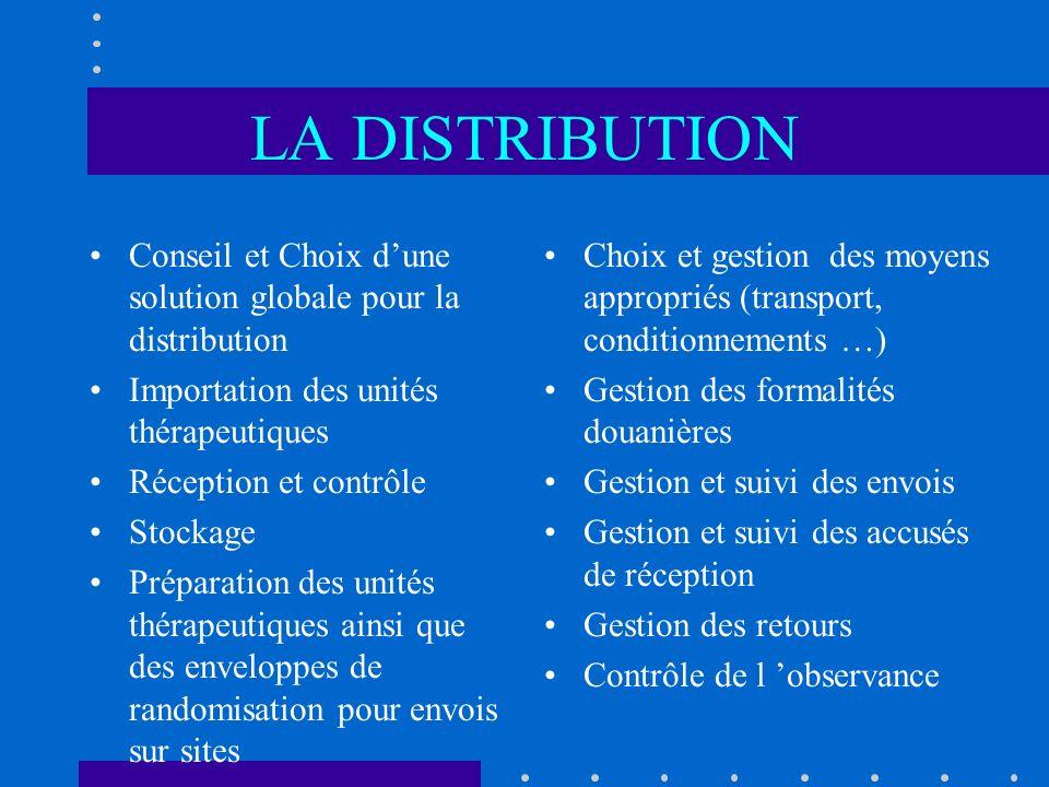 LA DISTRIBUTION Conseil et Choix d'une solution globale pour la distribution. Importation des unités thérapeutiques.