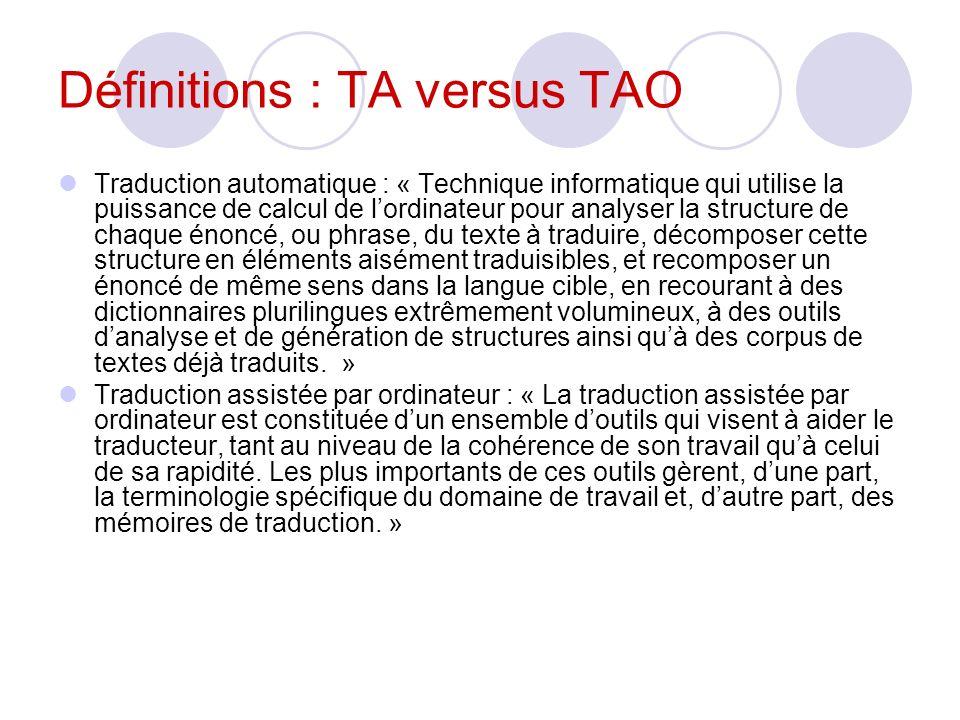 Définitions : TA versus TAO