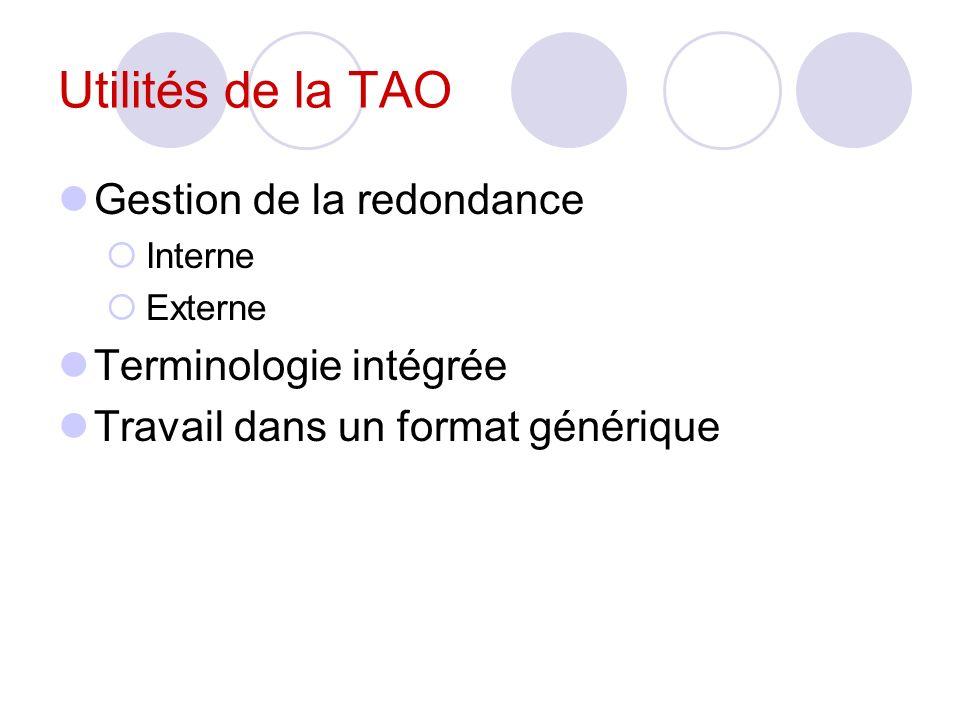 Utilités de la TAO Gestion de la redondance Terminologie intégrée