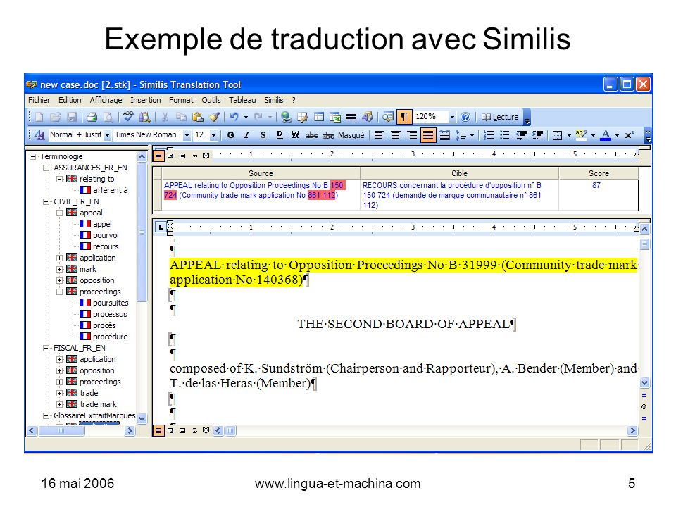 Exemple de traduction avec Similis
