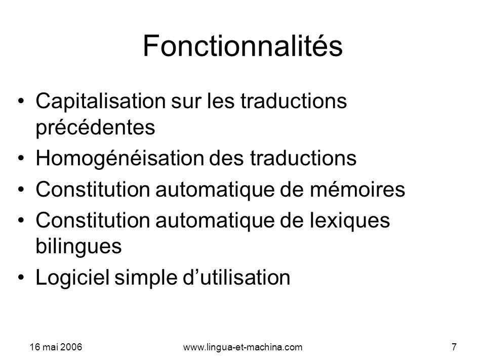 Fonctionnalités Capitalisation sur les traductions précédentes
