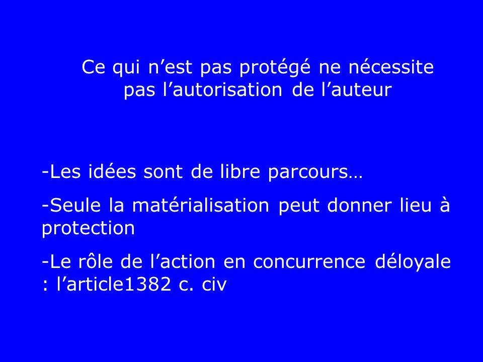 Ce qui n'est pas protégé ne nécessite pas l'autorisation de l'auteur