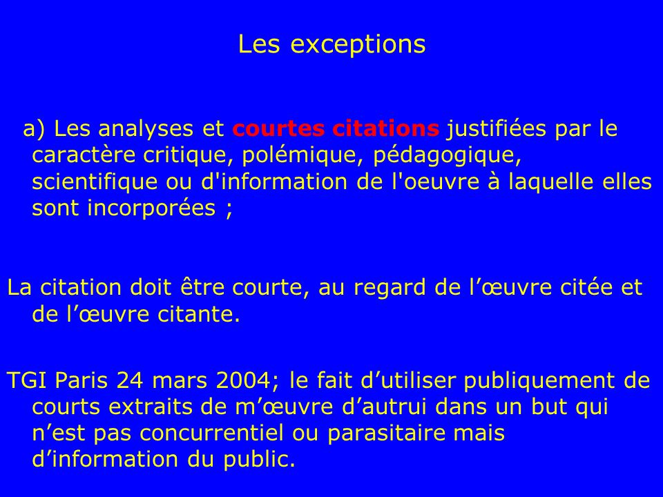 Les exceptions