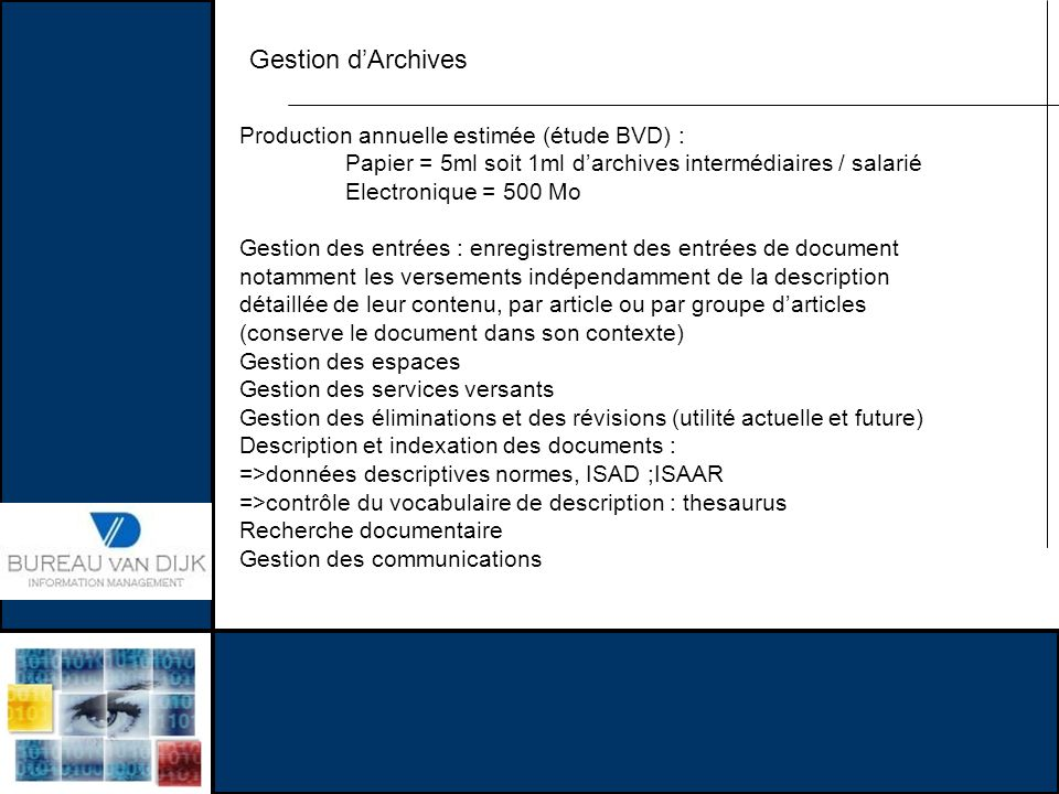 Gestion d'Archives Production annuelle estimée (étude BVD) :