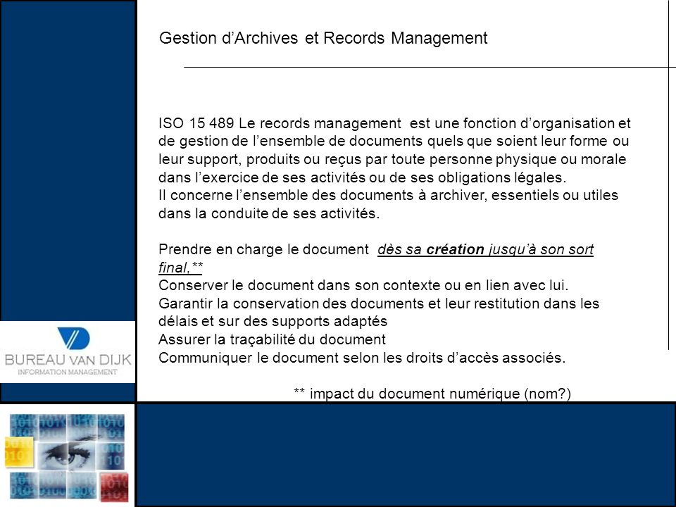 Gestion d'Archives et Records Management
