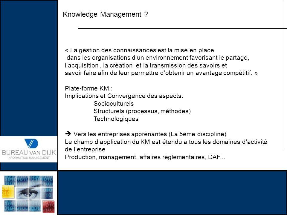 Knowledge Management « La gestion des connaissances est la mise en place. dans les organisations d'un environnement favorisant le partage,
