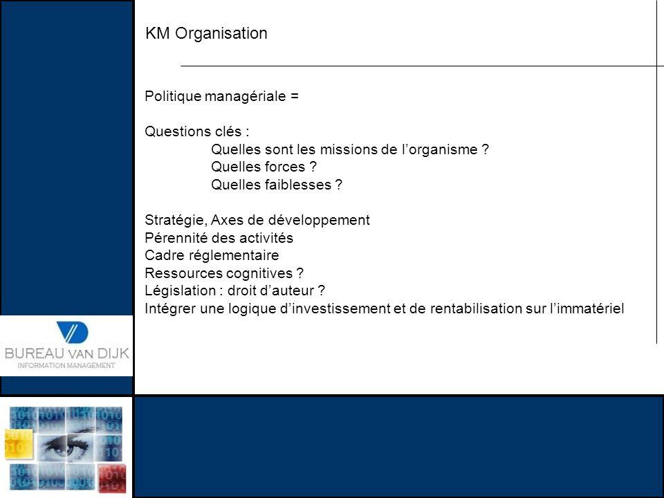 KM Organisation Politique managériale = Questions clés :