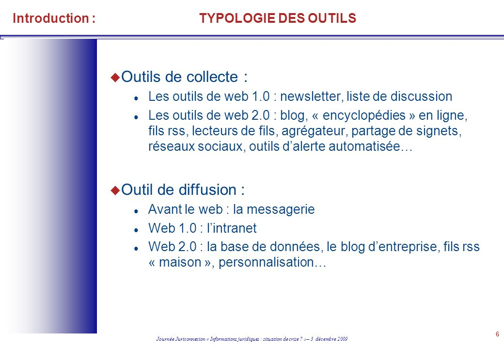 Introduction : TYPOLOGIE DES OUTILS
