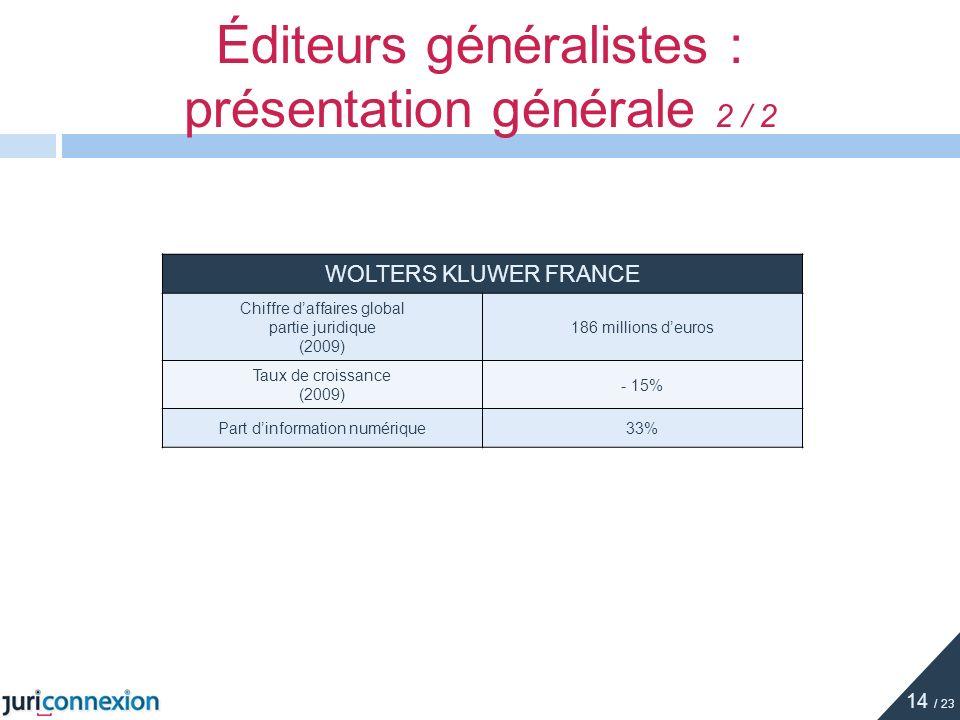 Éditeurs généralistes : présentation générale 2 / 2