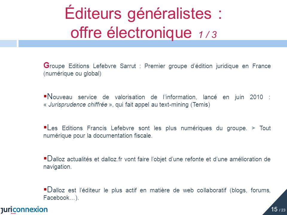Éditeurs généralistes : offre électronique 1 / 3