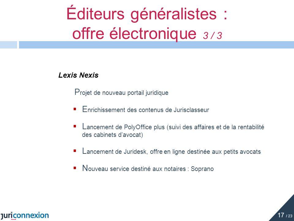 Éditeurs généralistes : offre électronique 3 / 3