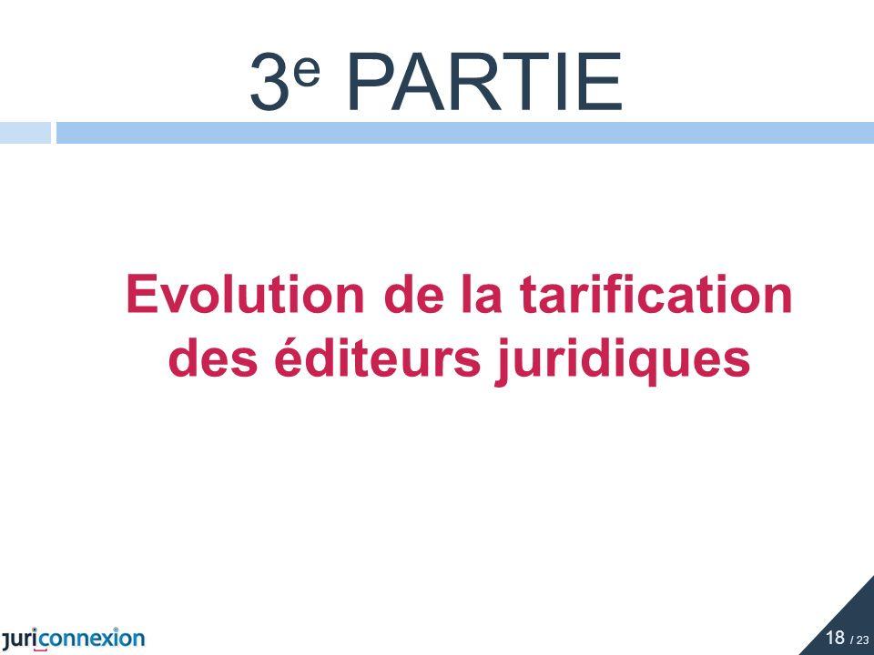 Evolution de la tarification des éditeurs juridiques