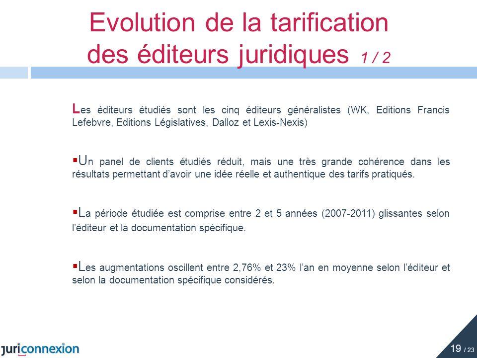 Evolution de la tarification des éditeurs juridiques 1 / 2