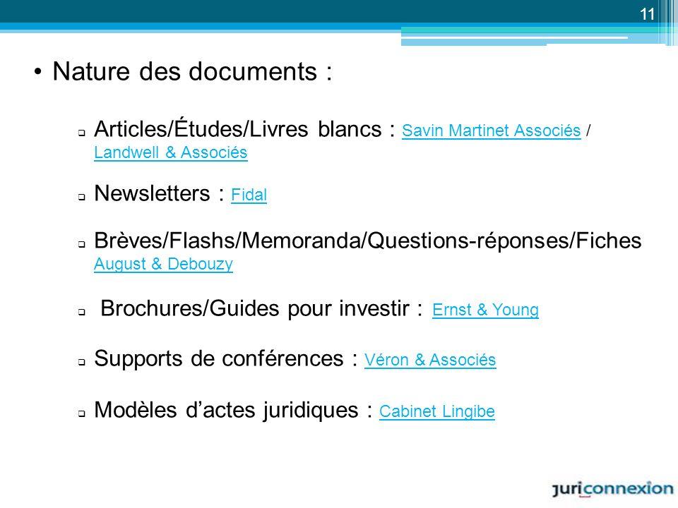 11 Nature des documents : Articles/Études/Livres blancs : Savin Martinet Associés / Landwell & Associés.