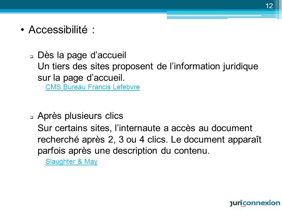Accessibilité : Dès la page d'accueil