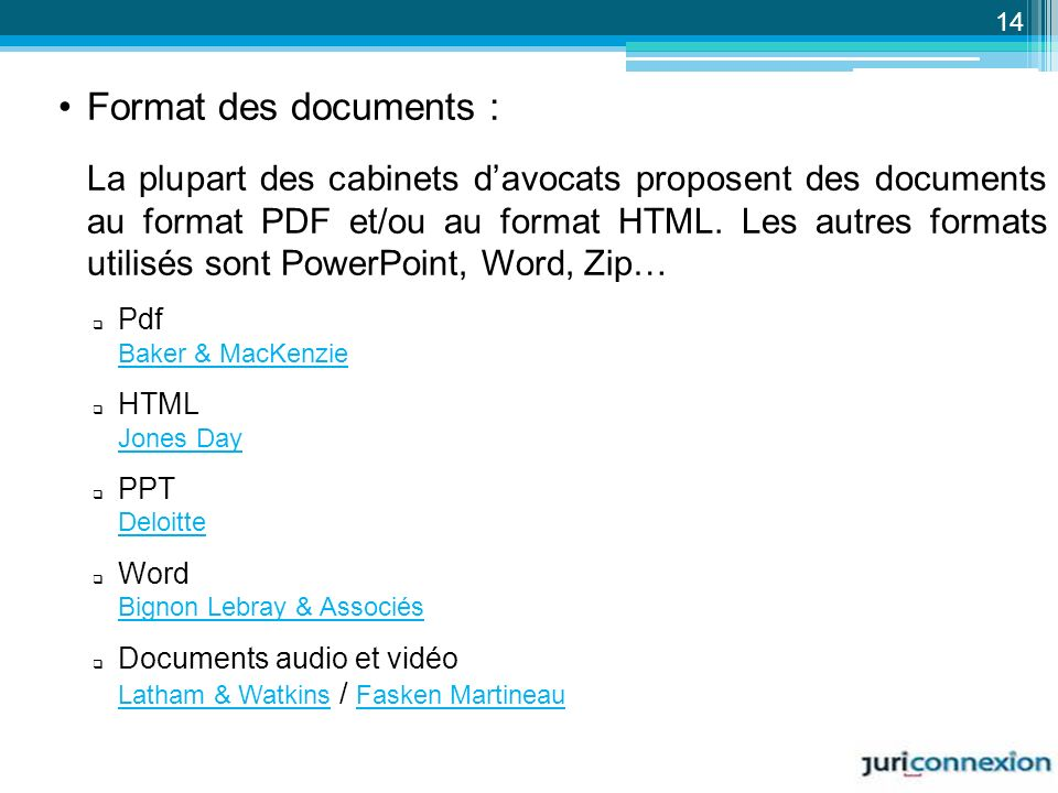 Format des documents :