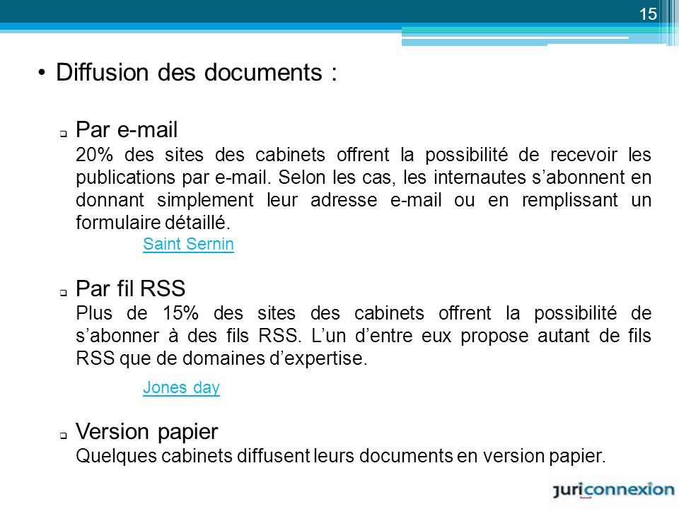 Diffusion des documents :