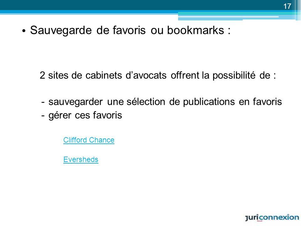 Sauvegarde de favoris ou bookmarks :