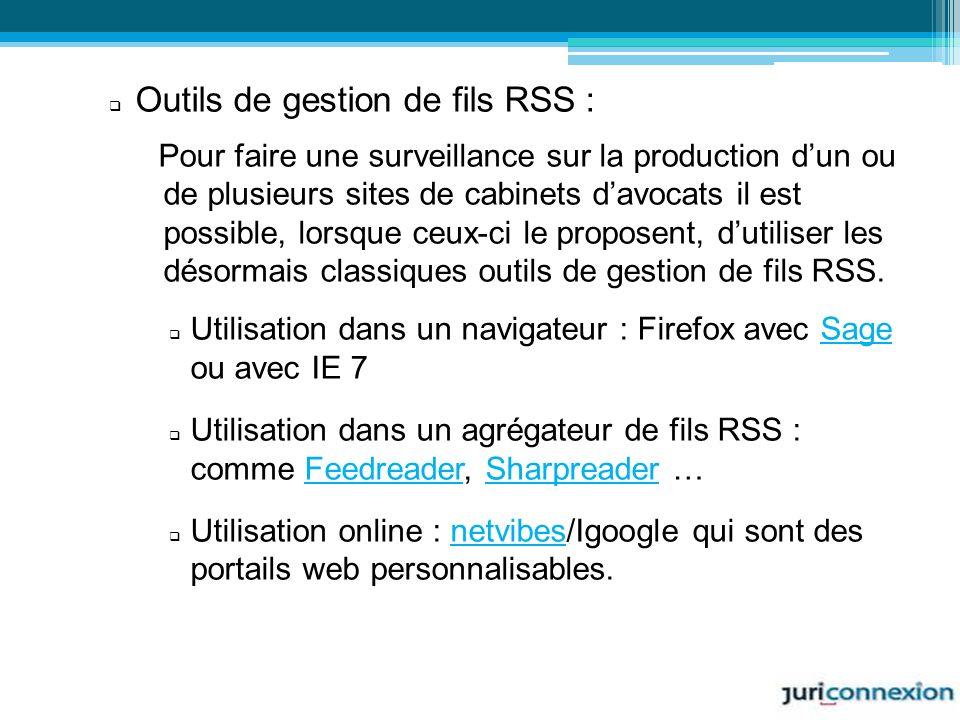 Outils de gestion de fils RSS :