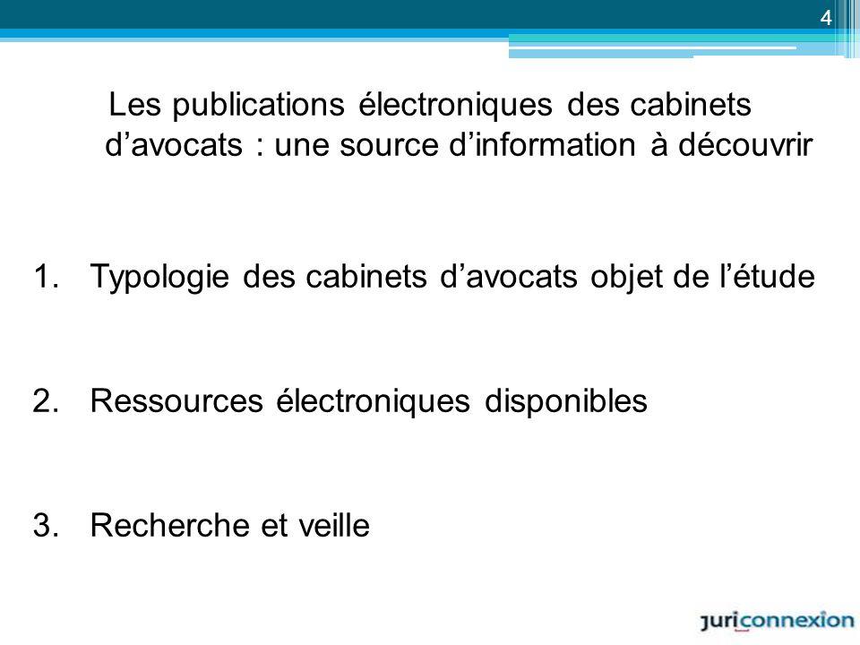 Les publications électroniques des cabinets d'avocats : une source d'information à découvrir