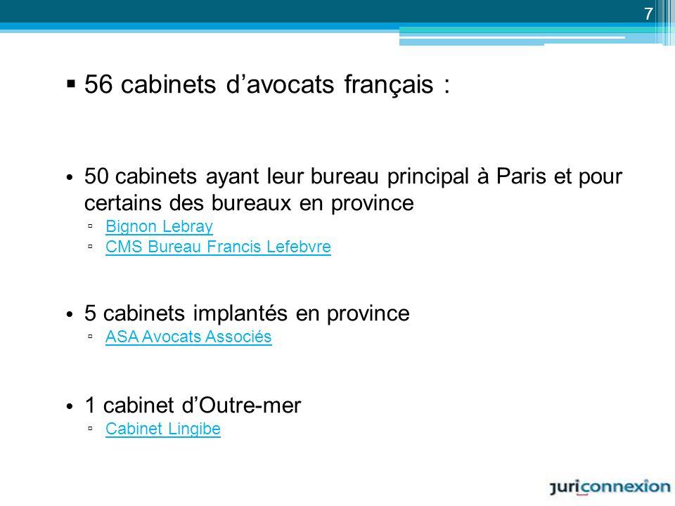 56 cabinets d'avocats français :