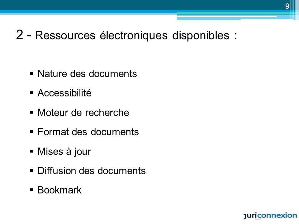 2 - Ressources électroniques disponibles :