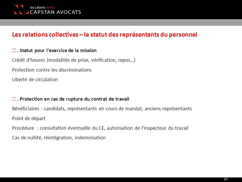 Les relations collectives – le statut des représentants du personnel