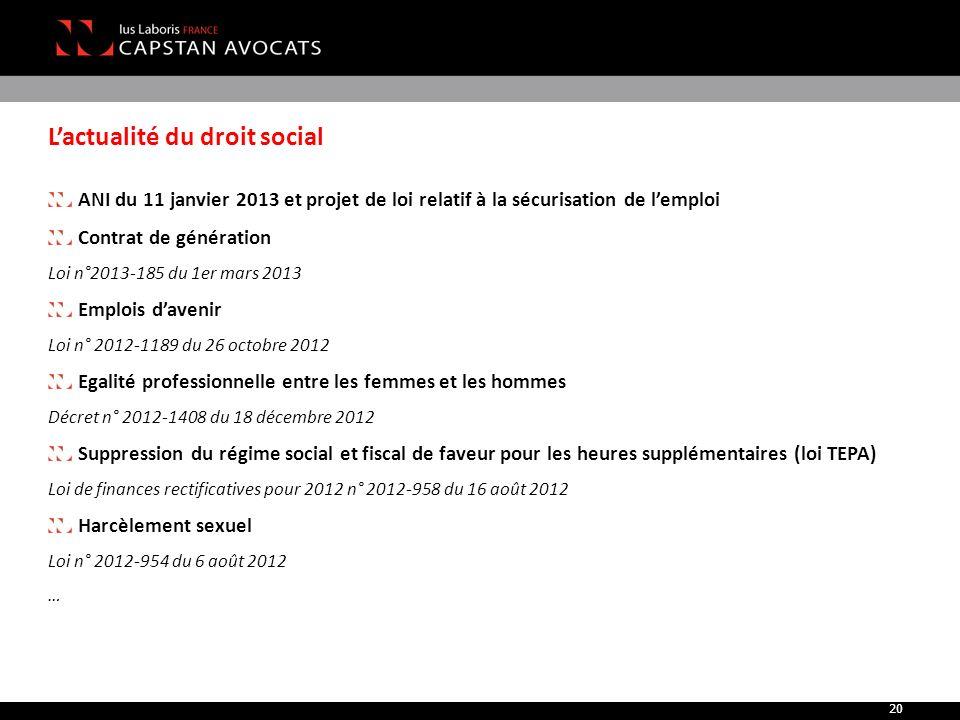L'actualité du droit social