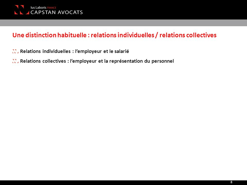 Une distinction habituelle : relations individuelles / relations collectives